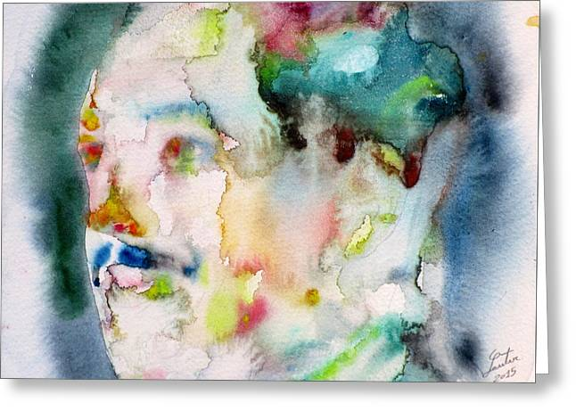 Langston Hughes - Watercolor Portrait.3 Greeting Card by Fabrizio Cassetta