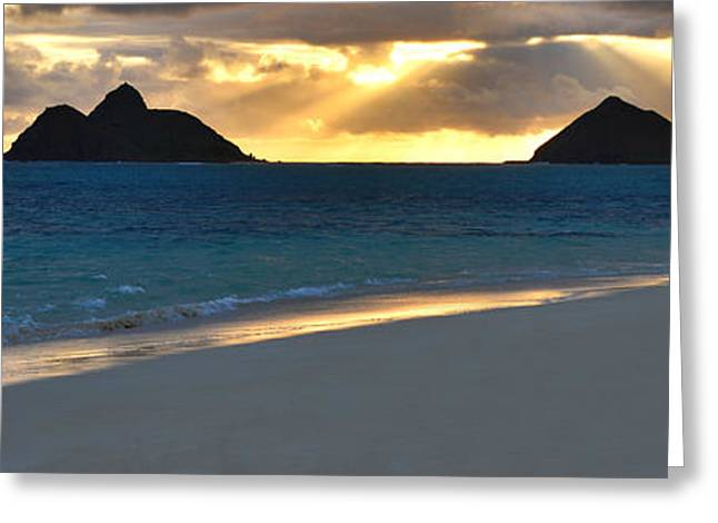 Lanikai Beach Sunrise Panorama - Kailua Oahu Hawaii Greeting Card