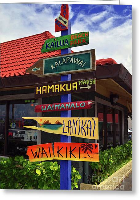 Lanikai Kailua Waikiki Beach Signs Greeting Card