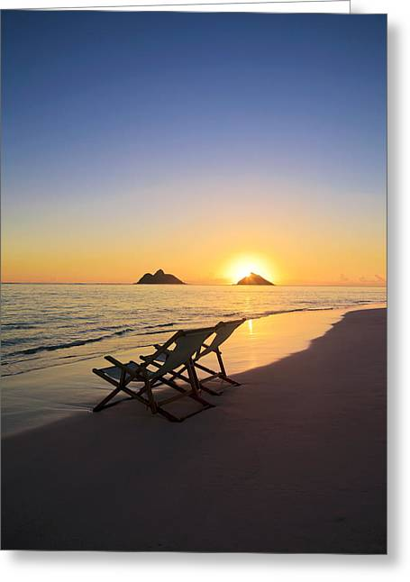 Recently Sold -  - Empty Chairs Greeting Cards - Lanikai Lounging at Sunrise Greeting Card by Tomas del Amo