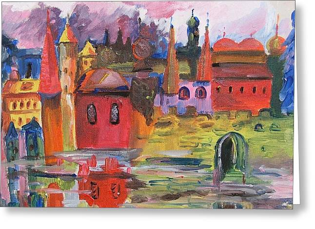 Lanscape With Red Houses Greeting Card