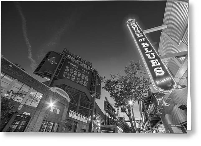 Lansdowne Street Fenway Park House Of Blues Boston Ma Black And White Greeting Card