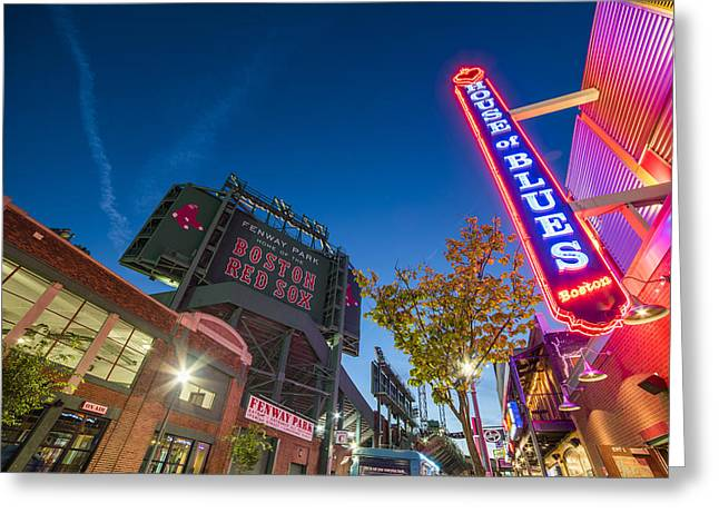 Lansdowne Street Fenway Park House Of Blues Boston Ma Greeting Card by Toby McGuire