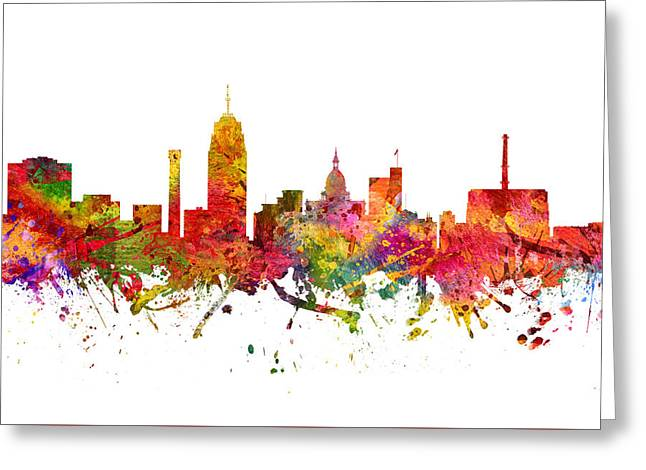 Lansing Cityscape 08 Greeting Card by Aged Pixel