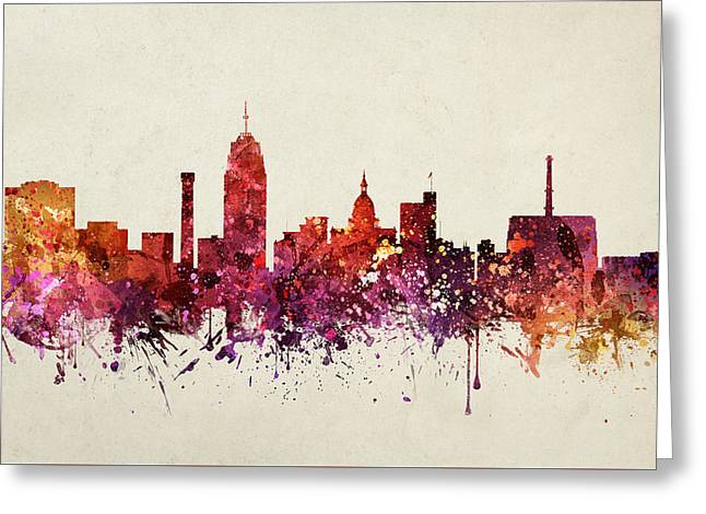 Lansing Cityscape 09 Greeting Card by Aged Pixel
