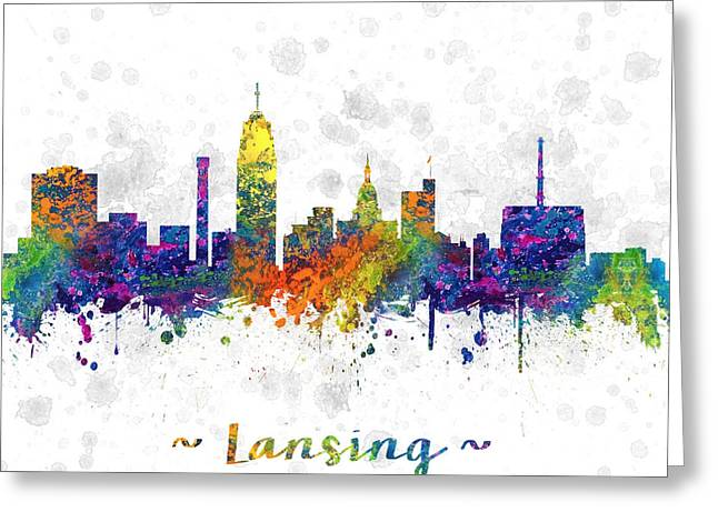 Lansing Michigan Color 03sq Greeting Card by Aged Pixel