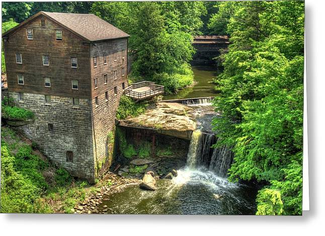 Lanterman's Mill And Covered Bridge - Youngstown Ohio Greeting Card by Gregory Ballos
