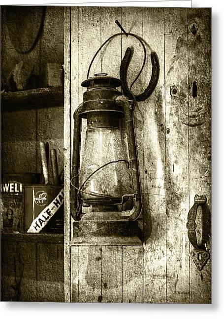 Lantern And Horseshoe - Sepia Greeting Card
