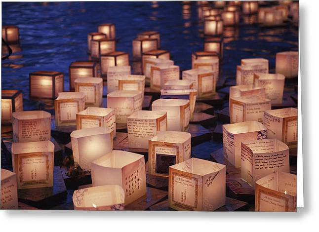 Lantern Floating Ceremony Greeting Card by Brandon Tabiolo - Printscapes