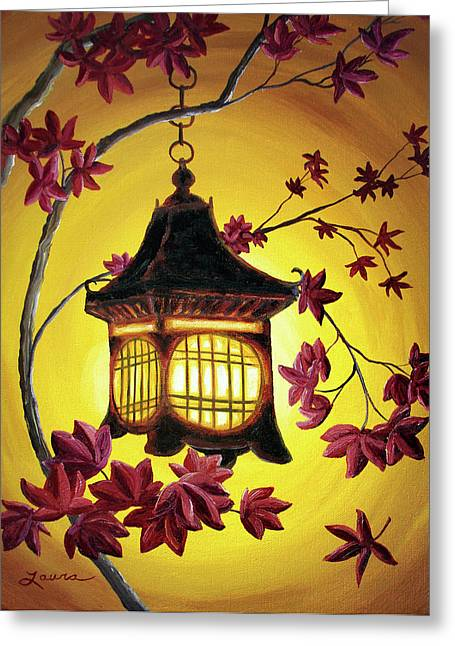 Lantern In Golden Glow Greeting Card by Laura Iverson