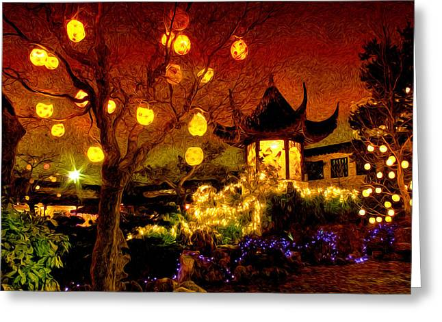 Lanterns In Chinese Garden Greeting Card by Julius Reque
