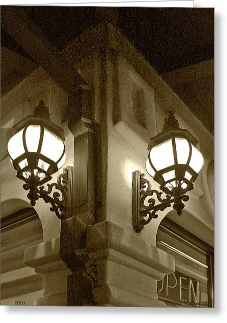Lanterns - Night In The City - In Sepia Greeting Card by Ben and Raisa Gertsberg