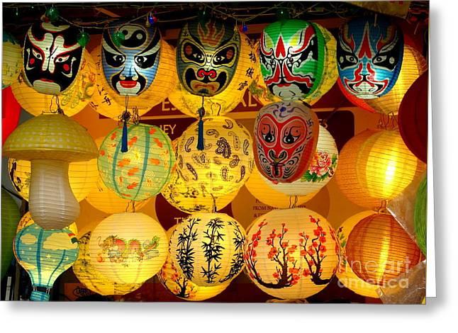 Lanterns Greeting Card by Ranjini Kandasamy