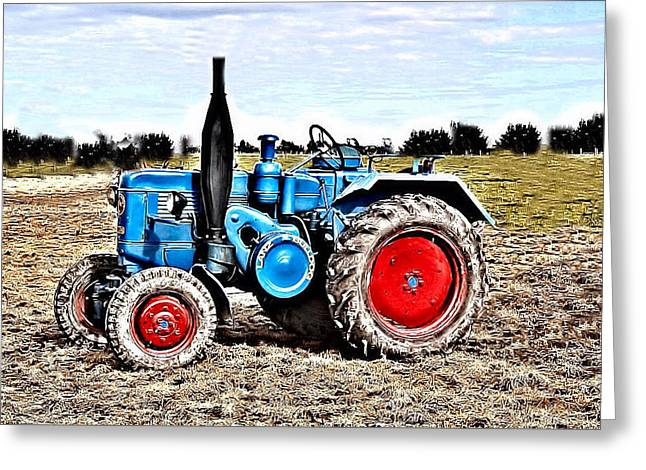 Lanz Bulldog Tractor Greeting Card by Thomas Schmidt
