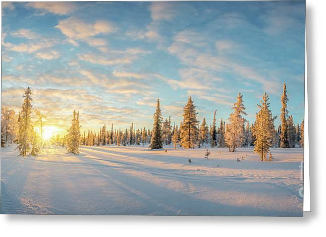 Lapland Panorama Greeting Card by Delphimages Photo Creations