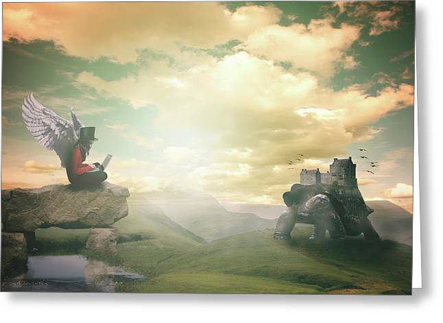 Greeting Card featuring the digital art Laptop Dreams by Nathan Wright