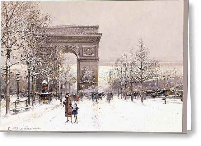 L'arc De Triomphe Greeting Card by Eugene Galien-Laloue