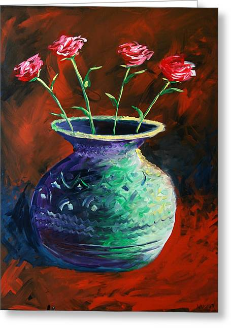 Greeting Card featuring the painting Large Abstract Roses In Vase Painting by Mark Webster