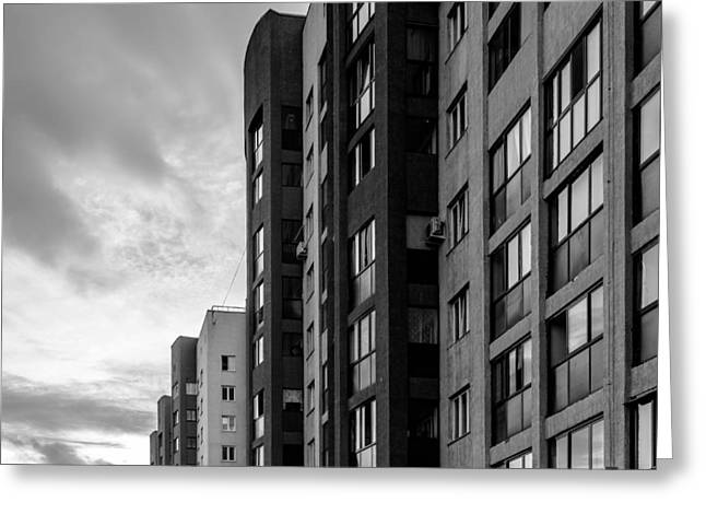 Large Apartment Block And Sunset Greeting Card by John Williams