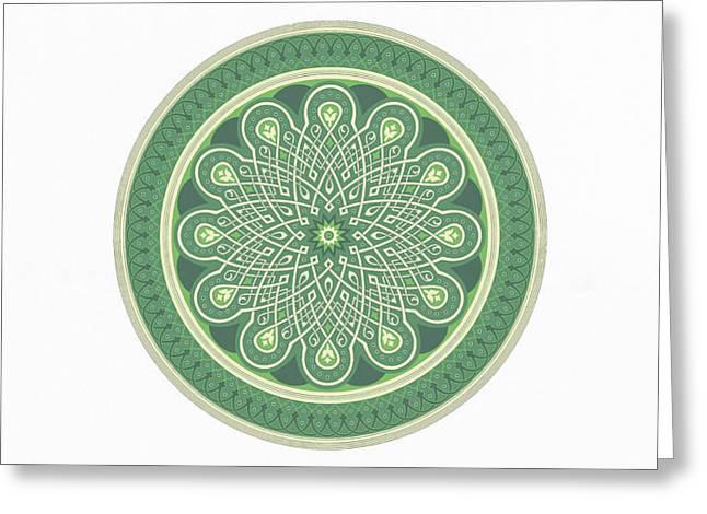 Large Art Prints - Good Luck - Green Mandala Art Greeting Card by Wall Art Prints