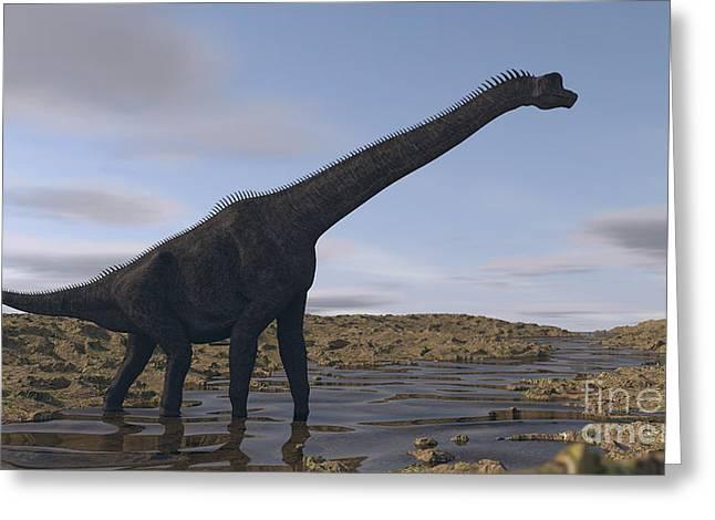 Zoology Greeting Cards - Large Brachiosaurus Walking Along A Dry Greeting Card by Kostyantyn Ivanyshen