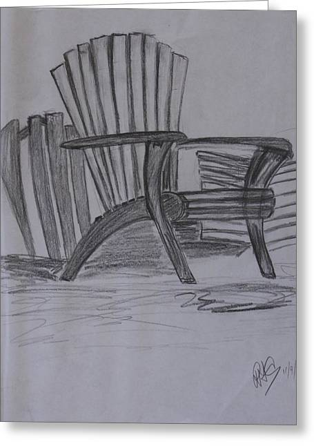 Large Chair On The Lawn Greeting Card by Roger Cummiskey