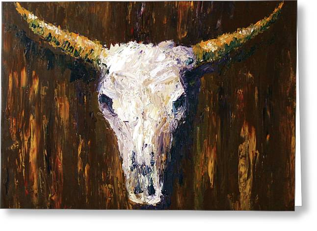 Daily Painter Greeting Cards - Large Cow Skull Acrylic Palette Knife Painting Greeting Card by Mark Webster