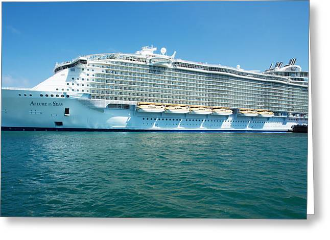 Large Cruise Liner In Olympic Port Greeting Card by Vadim Goodwill