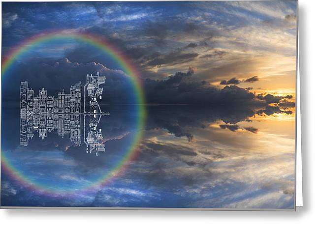 Large Panorama Image Of Sunset Sky With Hand Drawn Illustrated B Greeting Card