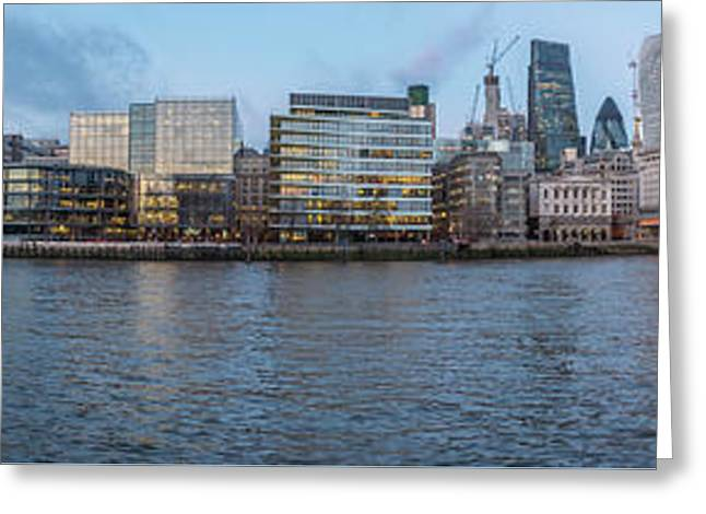 Large Panorama Of Downtown London Betwen The London Bridge And T Greeting Card