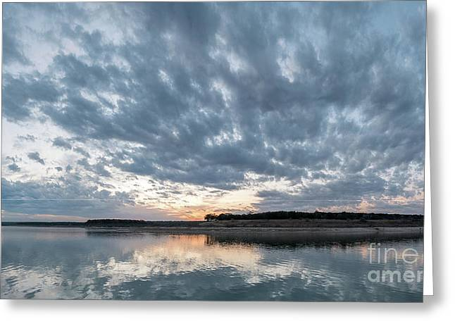 Large Panorama Of Storm Clouds Reflecting On Large Lake At Sunse Greeting Card