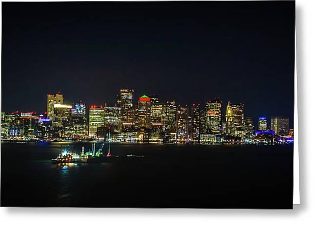 Large Panoramic Of Downtown Boston At Night Greeting Card