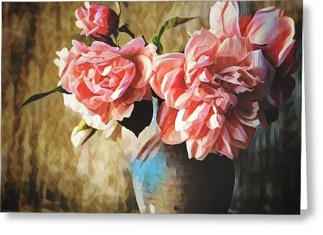Large Pink Flowers In A Vase Greeting Card