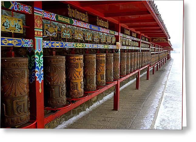 Large Prayer Wheels In Tibet Greeting Card by Birgit Moldenhauer