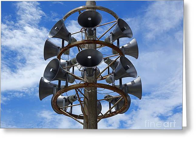 Greeting Card featuring the photograph Large Public Address System by Yali Shi