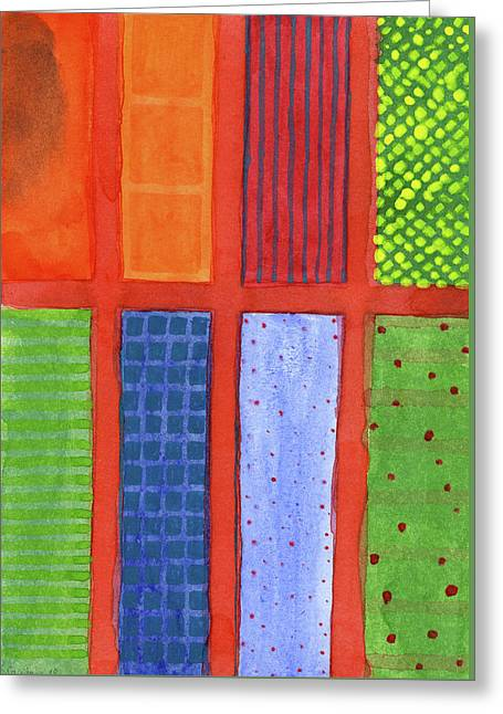 Large Rectangle Fields Between Red Grid  Greeting Card by Heidi Capitaine