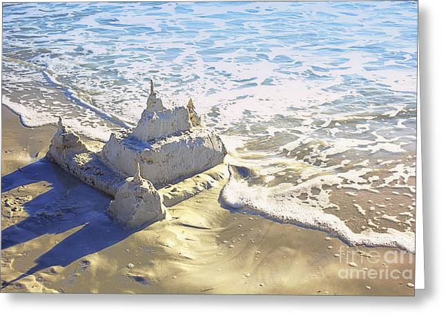 Large Sandcastle On The Beach Greeting Card by Skip Nall