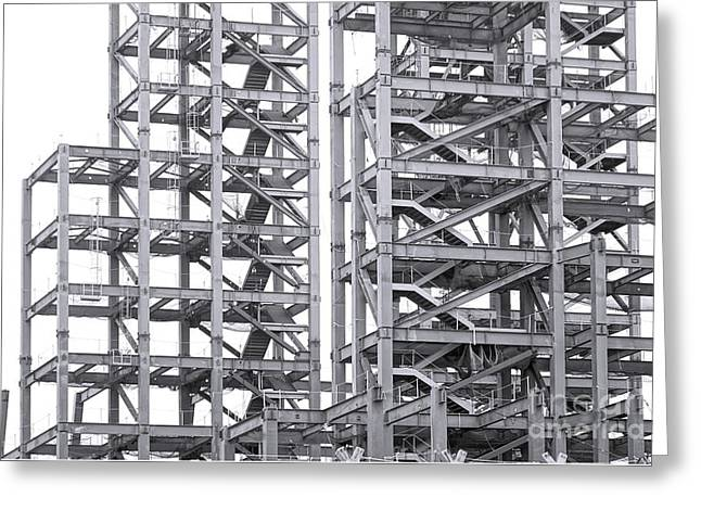 Greeting Card featuring the photograph Large Scale Construction Project With Steel Girders by Yali Shi
