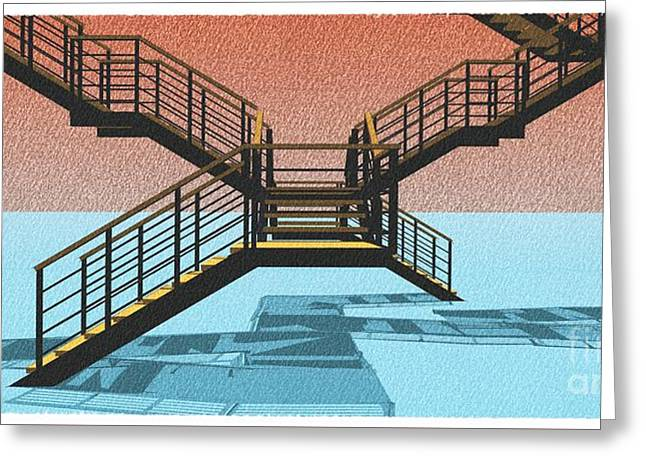 Large Stair 38 On Cyan And Strange Red Background Abstract Arhitecture Greeting Card by Pablo Franchi