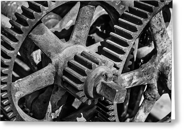 Large Trainyard Gears Greeting Card
