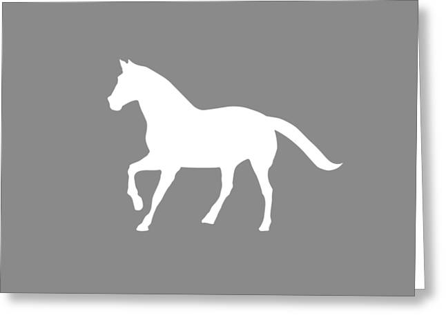Large White Horse Silhouette On Light Gray Background Greeting Card by Greg Noblin