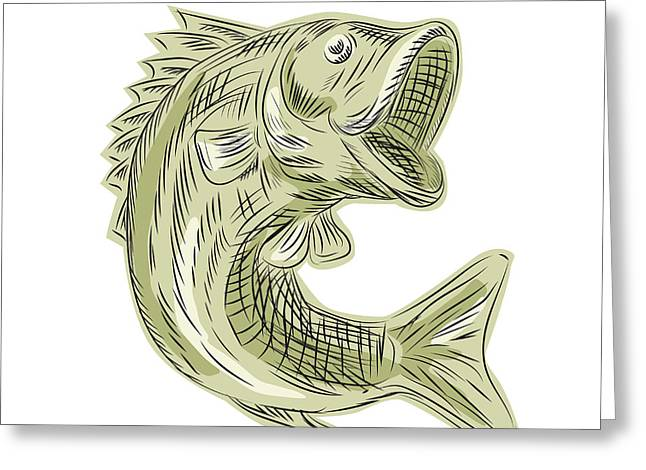 Largemouth Bass Fish Etching Greeting Card by Aloysius Patrimonio