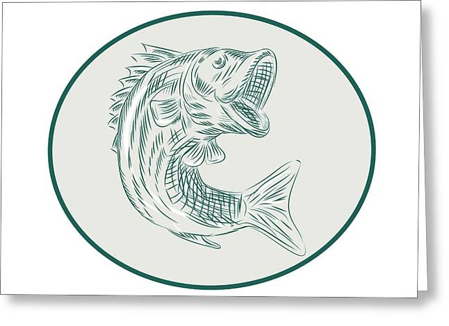 Largemouth Bass Fish Oval Etching Greeting Card by Aloysius Patrimonio