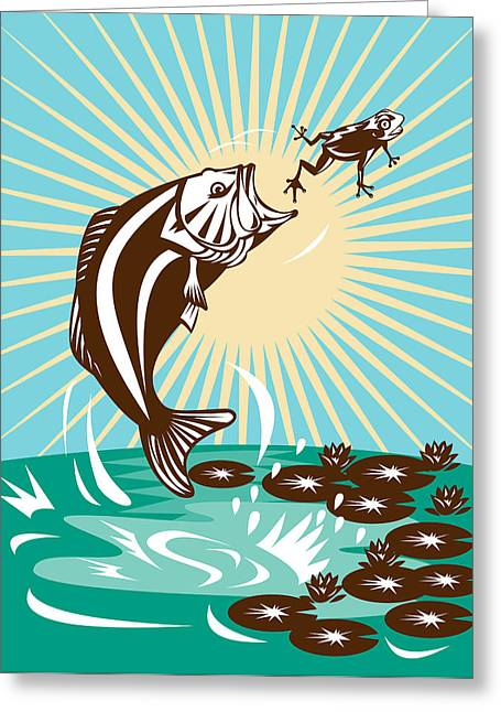 Largemouth Bass Jumping Catching Frog  Greeting Card by Aloysius Patrimonio