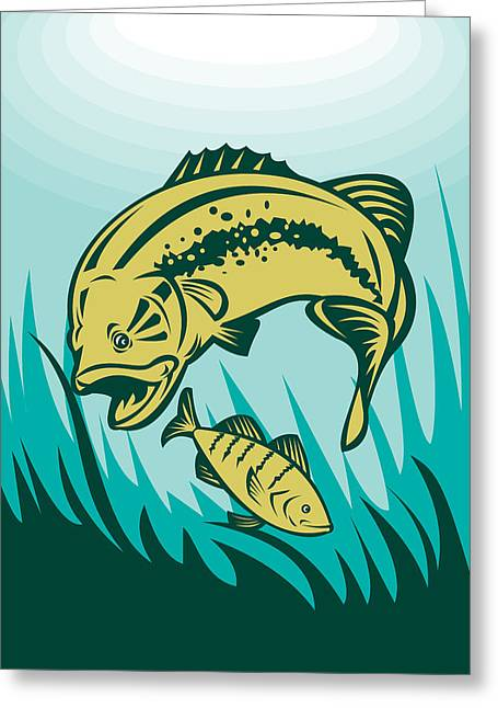 Largemouth Digital Art Greeting Cards - Largemouth Bass Preying On Perch Fish Greeting Card by Aloysius Patrimonio