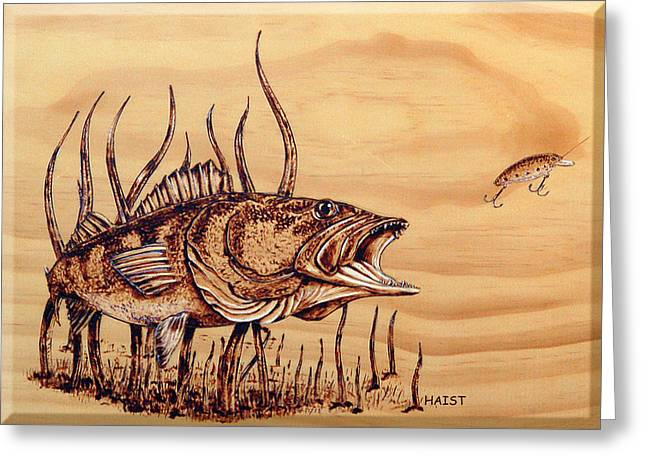 Greeting Card featuring the pyrography Largemouth Bass by Ron Haist