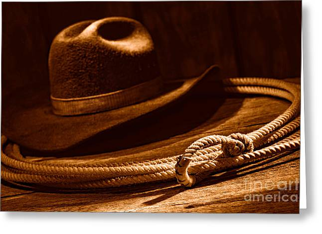 Lariat And Hat - Sepia Greeting Card by Olivier Le Queinec