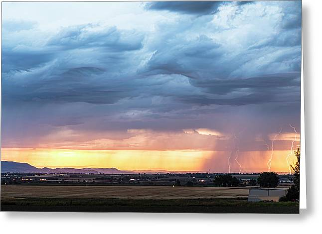 Larimer County Colorado Sunset Thunderstorm Greeting Card by James BO Insogna