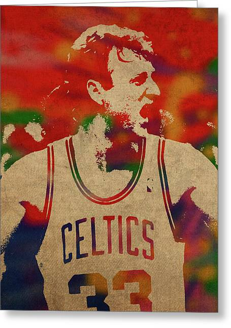 Larry Bird Watercolor Portrait Greeting Card