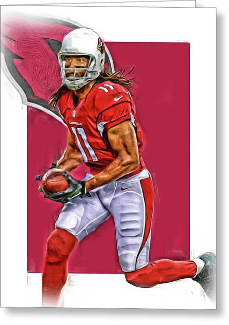 Larry Fitzgerald Arizona Cardinals Oil Art Greeting Card